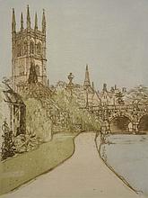 Richard Beer (British, b.1928)  Magdalen Bridge, signed and titled