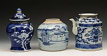 A Chinese blue and white jar and cover 19th Centur