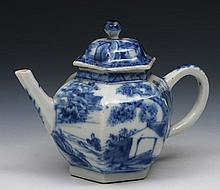 A Chinese blue and white porcelain hexagonal small
