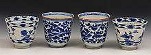 A pair of Chinese blue and white porcelain tea bow