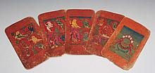 Five Tibetan painted folio pages 19th Century 17cm