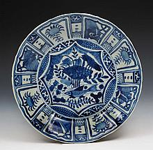 A Chinese blue and white porcelain Kraak dish 18th