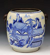 A Chinese blue and white porcelain jardiniere 18th