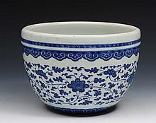 A Chinese blue and white porcelain fish bowl 19th