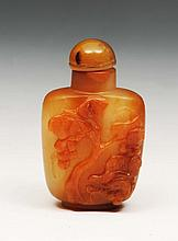 A Chinese pale brown agate snuff bottle circa 1800