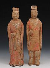A pair of Chinese Northern Wei tomb figures 29cm