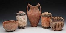Two Chinese Han dynasty jars; a Neolithic bowl an