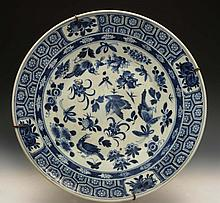 A Chinese blue and white porcelain charger 19th Ce