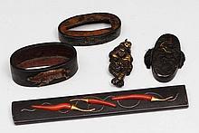 A Japanese kozuka, two fuchi, one kashira and one