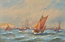 ROBERT MALCOLM LLOYD (1859-1907) Sailing vessels off a harb
