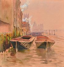 RUTH MERCIER (fl. 1880-1913) Barges moored on the Thames at