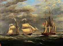 G * NAPIER (19TH CENTURY) An American three master in full