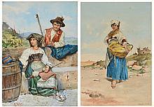 EDUARD VITALI (19TH CENTURY) An Italian peasant girl wool w