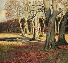 FINN WENNERWALD (1896-1969) An autumn woodland with pool, s