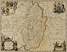 JAN JANSSON 'Nottinghamshire', double-page engraving with d