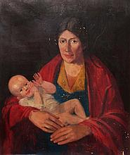 IRISH SCHOOL Mother with child, oils on canvas, 75 x 62cm