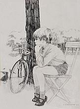 R * EARNSHAW (20TH CENTURY) A child with bicycle, signed an