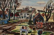 ROWLAND SUDDABY (1912-1972) 'The Farmyard', signed, waterco