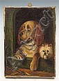 S.D. BAGLEY - Study of two dogs in a kennel, oil
