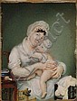 A 19TH CENTURY MINIATURE STUDY of a mother and