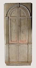 A GEORGE III BLUE PAINTED PINE CORNER CUPBOARD, t