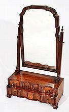 A 19TH CENTURY BURR WALNUT VANEERED DRESSING TABL