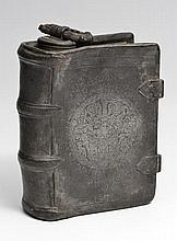AN ANTIQUE GERMAN PEWTER FLASK in the form of a l
