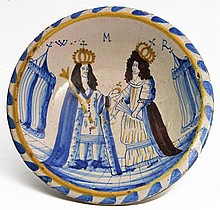 A LONDON DELFT BLUE DASH CHARGER OF WILLIAM & MAR