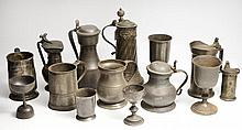 A GROUP OF ANTIQUE ENGLISH AND CONTINENTAL PEWTER