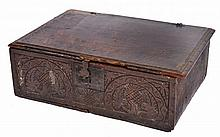 A 17TH OR 18TH CENTURY OAK BIBLE BOX with zigzag