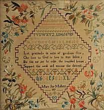 AN EARLY 19TH CENTURY SAMPLER, by Mary J Mollet,