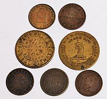 SEVEN VARIOUS GROCERS AND OTHER TOKENS