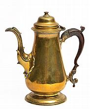 A GEORGE III BRASS COFFEE POT, circa. 1760, of ba