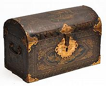 AN ORIENTAL BLACK LACQUERED DOME TOPPED CASKET wi