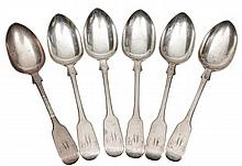 A SET OF SIX VICTORIAN SILVER FIDDLE PATTERN DESS
