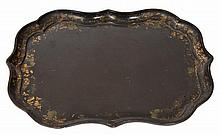 A VICTORIAN PAPIER MACHE TRAY of serpentine outli