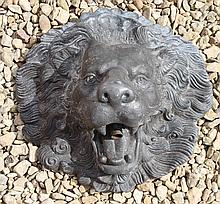 A CAST LEAD LION MASK WALL MOUNTED FOUNTAIN HEAD,