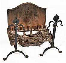 A PAIR OF BLACK PAINTED WROUGHT IRON ANDIRONS wit
