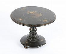AN EARLY VICTORIAN BLACK LACQUERED TILT TOP MINIA