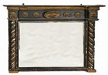 A REGENCY OVERMANTLE MIRROR, black lacquered and