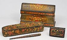 AN ANTIQUE EASTERN PAPIER MACHE PEN BOX with a bl