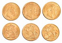 THREE EDWARD VII GOLD SOVEREIGNS; one dated 1904