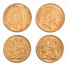 TWO EDWARD VII GOLD SOVEREIGNS; one dated 1903; t
