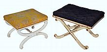 A VICTORIAN BUTTON UPHOLSTERED X-FRAMED STOOL wit