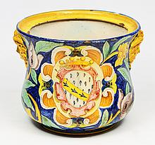 AN OLD MAJOLICA JARDINIERE decorated with Hermes