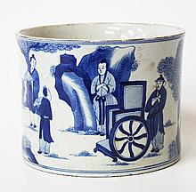 A CHINESE BLUE AND WHITE PORCELAIN BRUSH POT of c