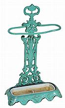 A VICTORIAN CAST IRON TURQUOISE PAINTED STICK STA