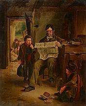 19TH CENTURY ENGLISH SCHOOL 'READING THE NEWS', o