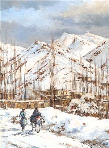 ARTHUR SARKISSIAN (20th Century) A pair of winter landscape scenes in Tehran, oil on canvas, 22