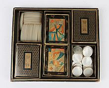 A CHINESE LACQUERED GAMING BOX with painted flowe